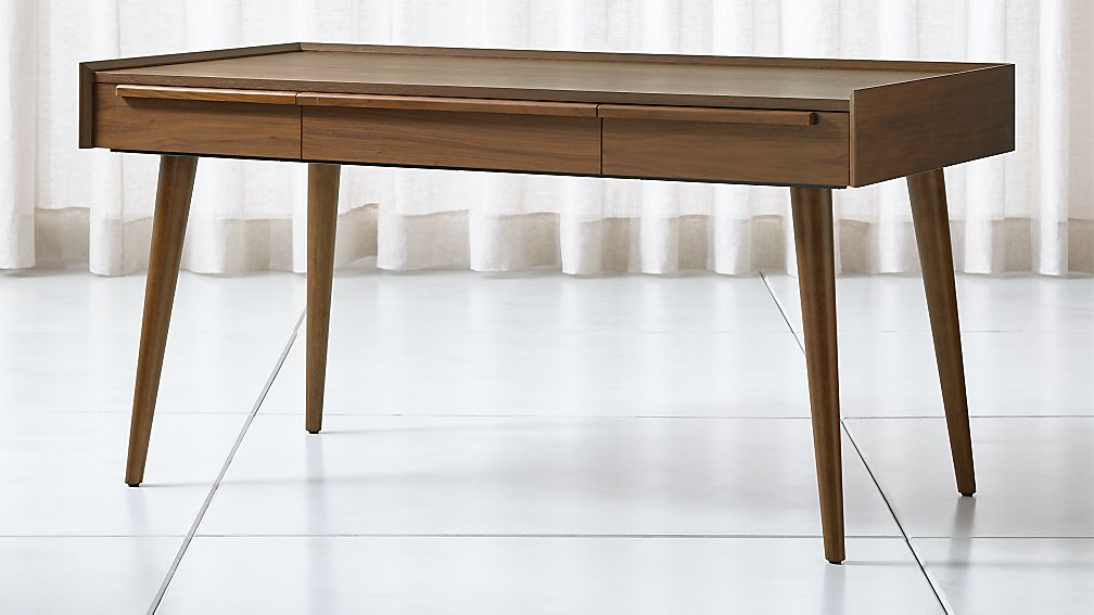 "Tate 60"" Walnut Desk with Power Outlet - Image 1 of 8"