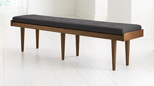 Tate Walnut King Bench with Charcoal Cushion