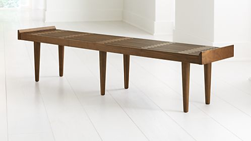 Tate King Walnut Slatted Bench