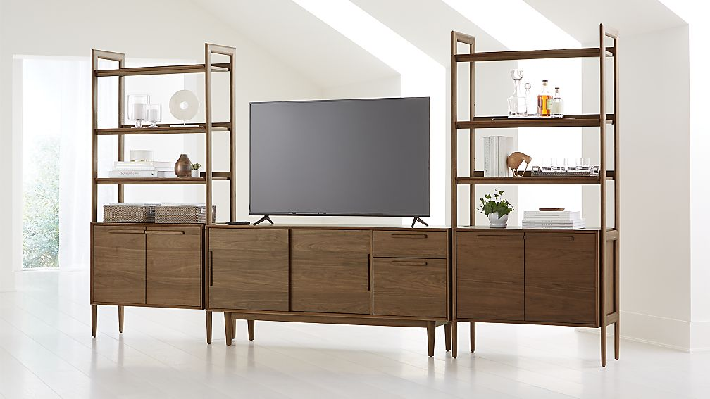"Tate Walnut 64.5"" Media Console with 2 Bookcase Cabinets - Image 1 of 6"