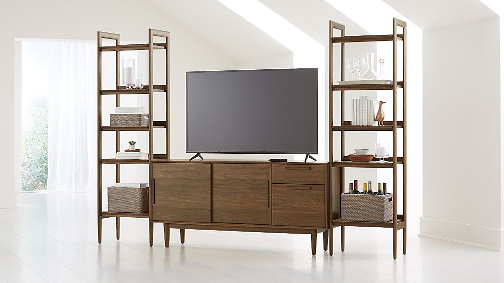 "Tate Walnut 64.5"" Media Console with 2 Bookcases - Image 1 of 4"