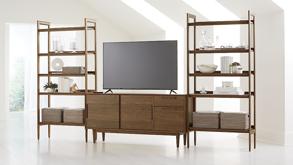 "Tate Walnut 64.5"" Media Console with 2 Wide Bookcases - Image 1 of 4"