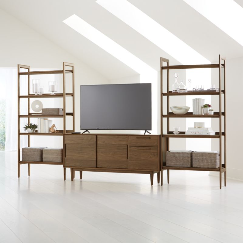 Tate Walnut 64 5 Quot Media Console With 2 Wide Bookcases