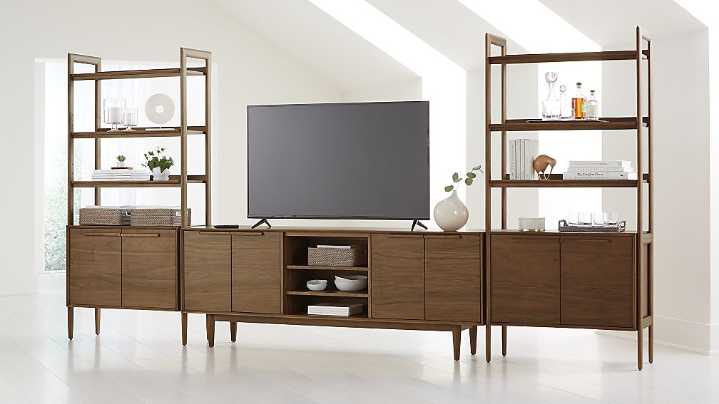 "Tate Walnut 80"" Media Console with 2 Bookcase Cabinets - Image 1 of 4"