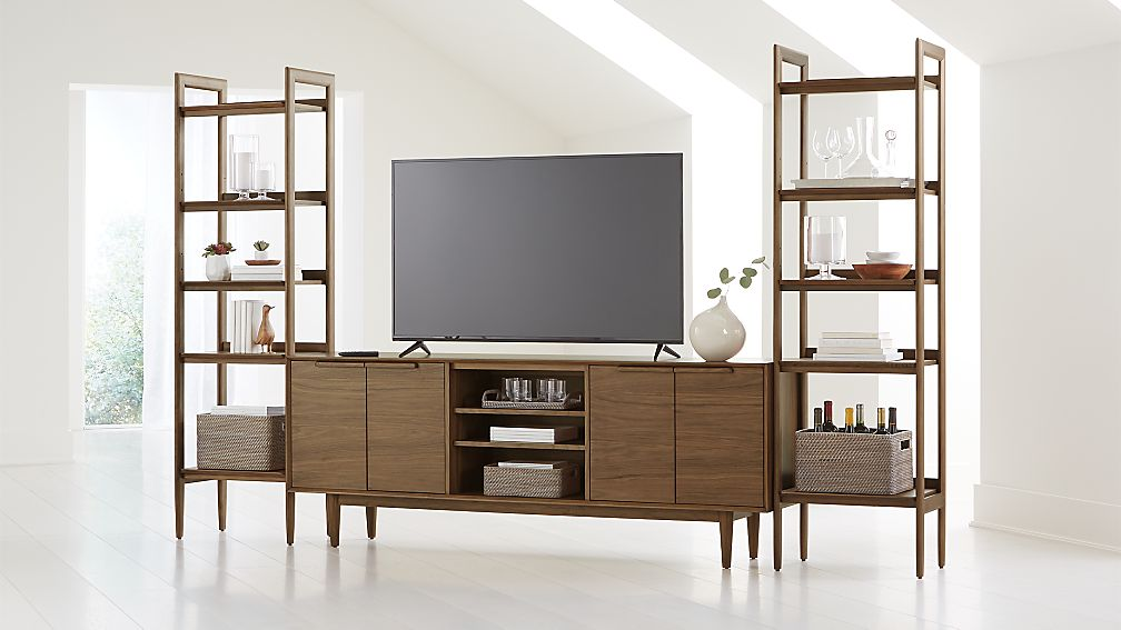 "Tate Walnut 80"" Media Console with 2 Bookcases - Image 1 of 4"