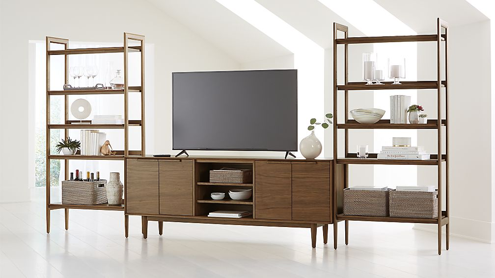 "Tate Walnut 80"" Media Console with 2 Wide Bookcases - Image 1 of 4"