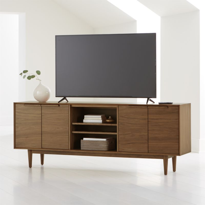 Tate Walnut 80 Quot Media Console Reviews Crate And Barrel