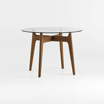 Tate Round Dining Table With Glass Top And Walnut Base Crate And Barrel
