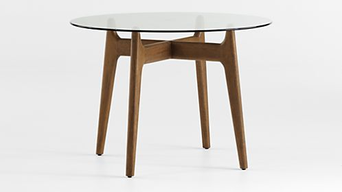 Tate Round Dining Table with Glass Top and Walnut Base