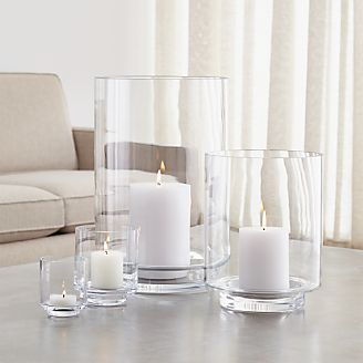 Taylor Glass Hurricane Candle Holders & Candle Holders: Votive Pillar and Lantern | Crate and Barrel