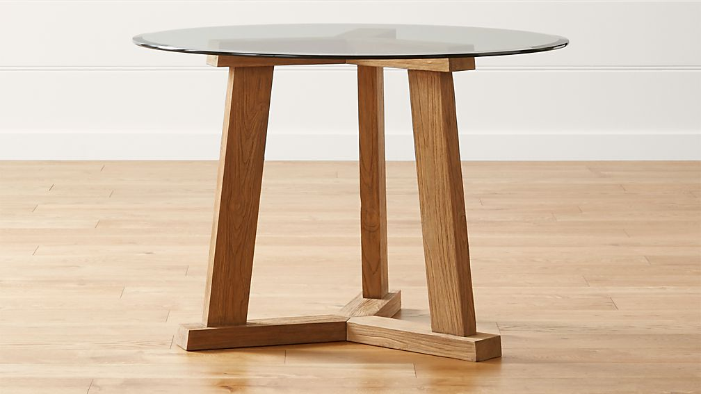 "Teak Reclaimed Wood Dining Table with 42"" Round Glass Top"