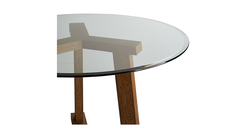 Teak Reclaimed Wood Dining Table With 42 Quot Round Glass Top