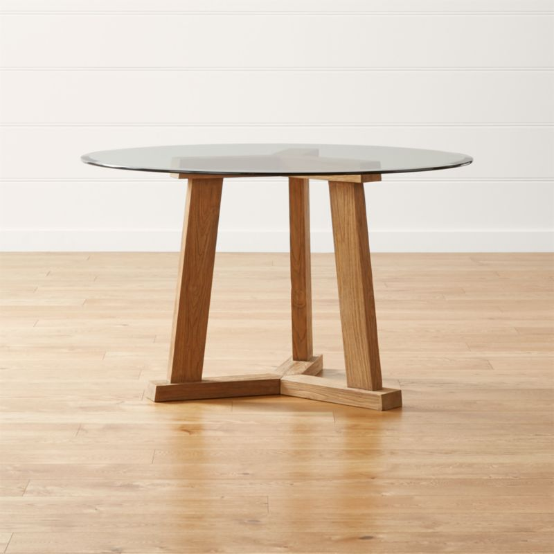 Teak reclaimed wood round dining tables with glass tops for Glass top dining table 36 x 60