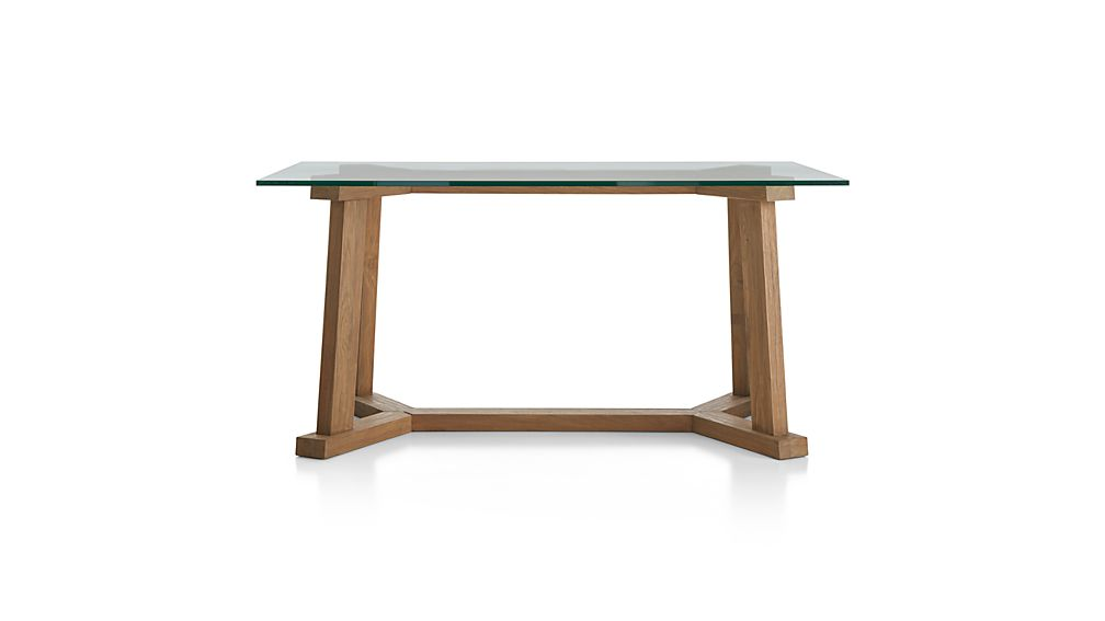 "Teak Reclaimed Wood Dining Table with 60""x36"" Rectangular Glass Top"