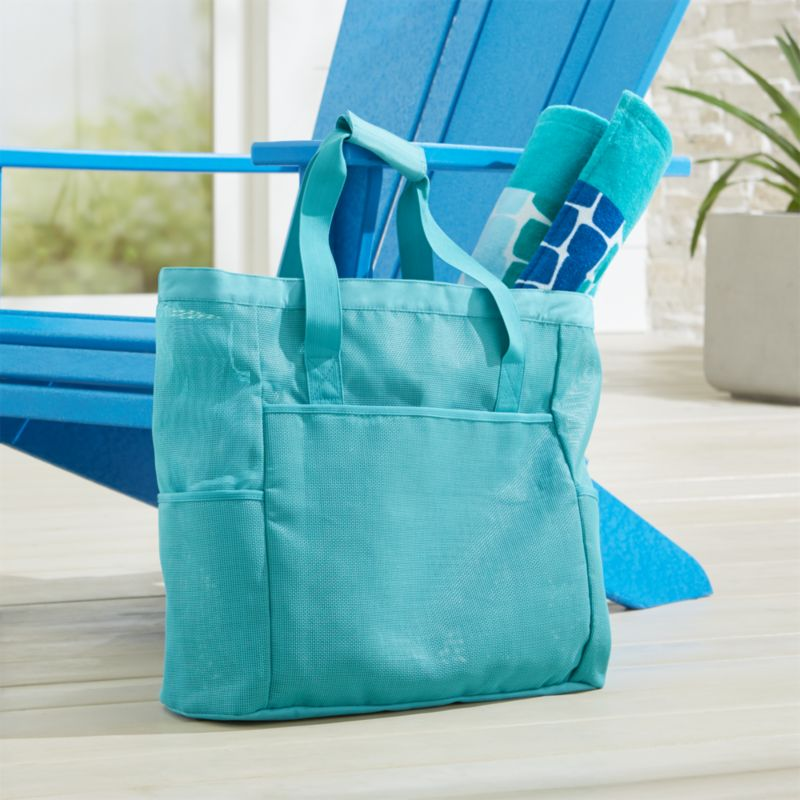 Coastal Large Teal Beach Bag + Reviews | Crate and Barrel