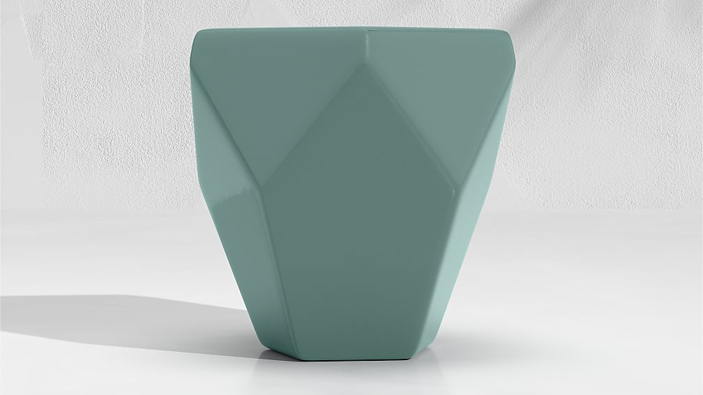 Faceted Ceramic Diamond Teal End Table - Image 1 of 3