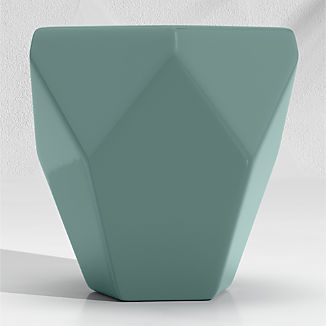Faceted Ceramic Diamond Teal End Table