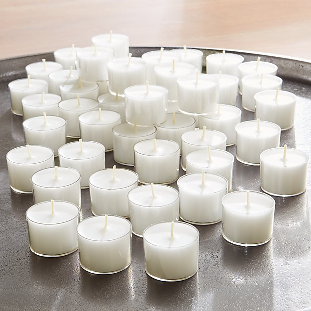 White Clear-Cupped 8-Hour Tealights, Set of 50 - Image 1 of 4