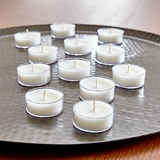 Set of 12 White Clear-Cupped Tea Lights