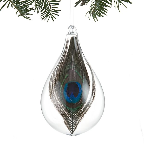 Teardrop Ornament Large with Peacock Feather