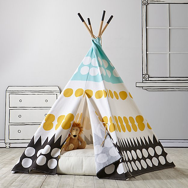 White Teepee Floor Cushion + Reviews | Crate and Barrel
