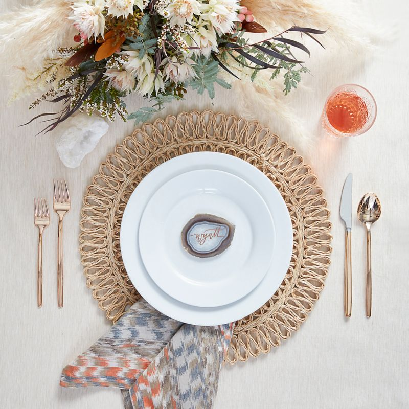 Boho Boho table setting featuring Aspen Dinnerware with Harper Rose Gold Flatware Tempe Placemat and Zola & Create a Wedding Registry by Style   Crate and Barrel