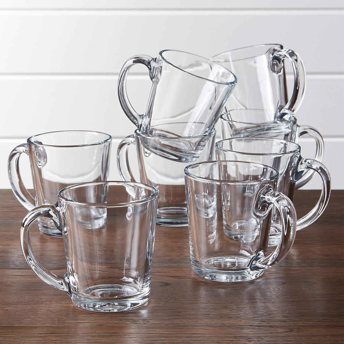 Moderno Clear Glass Coffee Mug Set Of 8 Reviews Crate And Barrel Canada