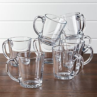 Tempo Clear Glass Coffee Mug, Set of 8