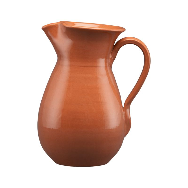 Crafted of red clay and fully glazed, the time-honored design of these warm serving pieces recall traditional Spanish ceramics, adding rustic, Old-World charm to table or buffet. Classically shaped pitcher serves sangria, iced tea and other cool beverages.<br /><br /><NEWTAG/><ul><li>High-fired earthenware</li><li>Dishwasher-, microwave- and freezer-safe</li><li>Not oven-safe</li><li>Made in Spain</li></ul>