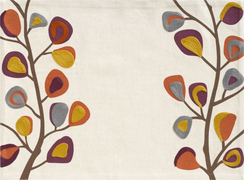 Branches of graphic blooms in mustard, cayenne, rust and grey climb the edges of a slubby linen-y cotton ground, embroidered in silky acrylic with aari embroidery, a continuous interlocking chain-stitch.<br /><br /><NEWTAG/><ul><li>100% cotton with 100% acrylic embroidery</li><li>Machine wash placemat; dry flat, warm iron as needed</li></ul><br />