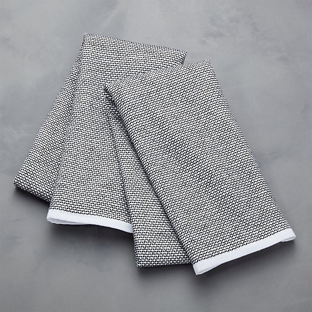 Black Textured Terry Dish Towels Set Of 2 Reviews Crate And Barrel