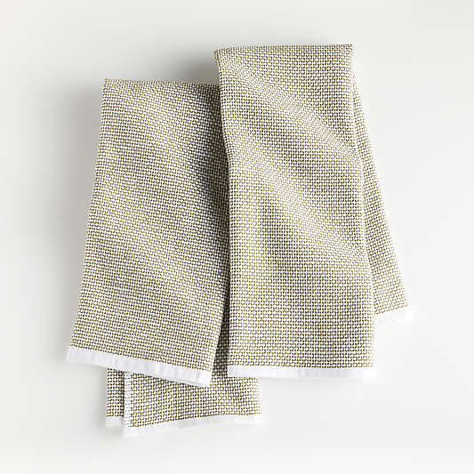 Olive Textured Terry Dish Towels, Set of 2