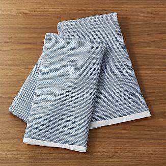 indigo textured terry dish towels set of 2 - Kitchen Towel Sets