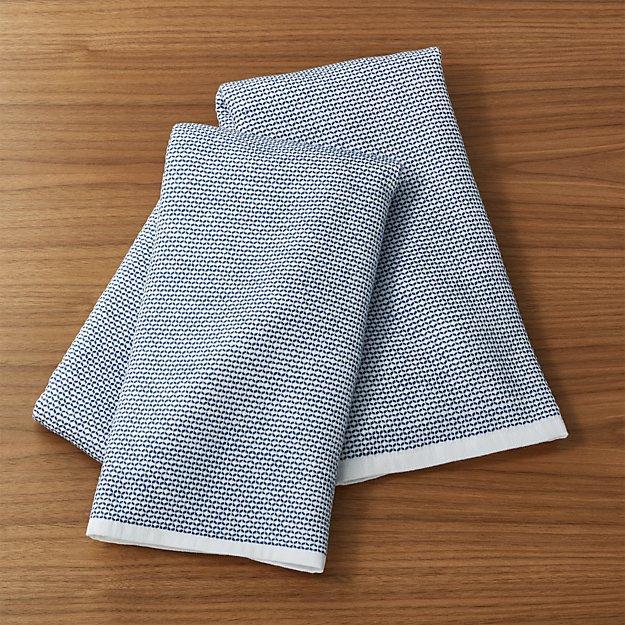 Indigo Textured Terry Dish Towels Set Of 2 Reviews Crate And Barrel
