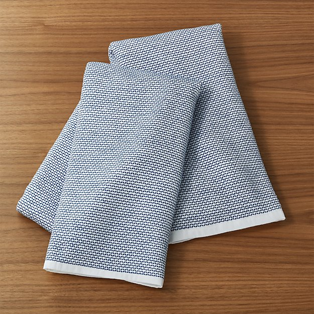 Indigo Textured Terry Dish Towels, Set of 2 - Image 1 of 3