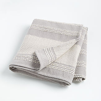 Grey Textured Throw Blanket