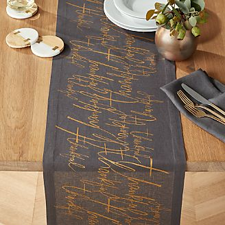 Thankful Graphite Linen Table Runner