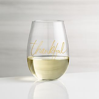 thankful stemless wine glass