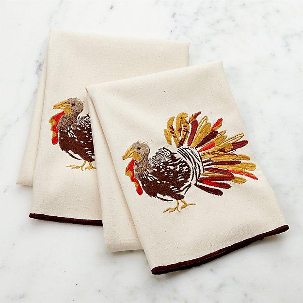 Thanksgiving Turkey Dish Towels, Set of 2