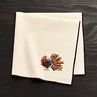 Thanksgiving Turkey Embroidered Dinner Napkin