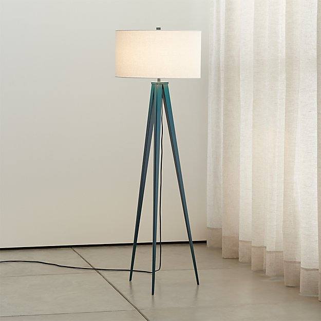 Theo Blue Floor Lamp In Floor Lamps Reviews Crate And