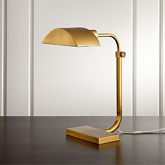 Theorem Aged Brass Desk Lamp