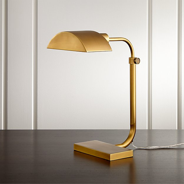 Theorem aged brass desk lamp reviews crate and barrel aloadofball Choice Image