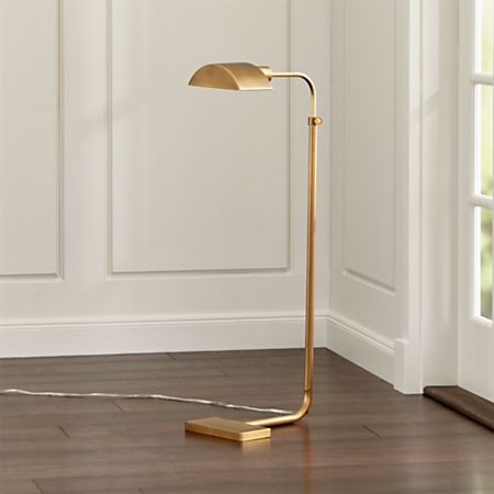 Theorem Aged Brass Floor Lamp Reviews Crate And Barrel