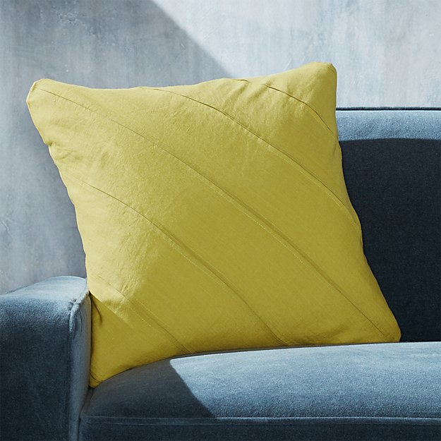 "Theta Chartreuse Linen Pillow 20"" - Image 1 of 6"
