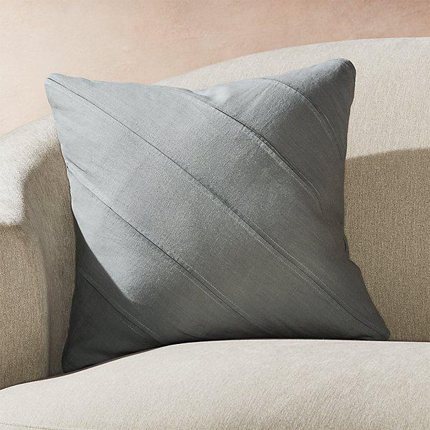 "Theta Grey Linen Pillow 20"" - Image 1 of 7"