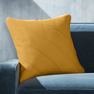 "Theta Mustard Linen Pillow 20"""