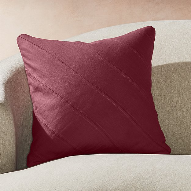 "Theta Plum Linen Pillow 20"" - Image 1 of 6"