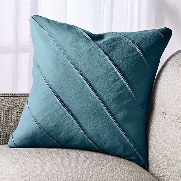 "Theta Teal Linen Pillow 20"" - Image 1 of 7"