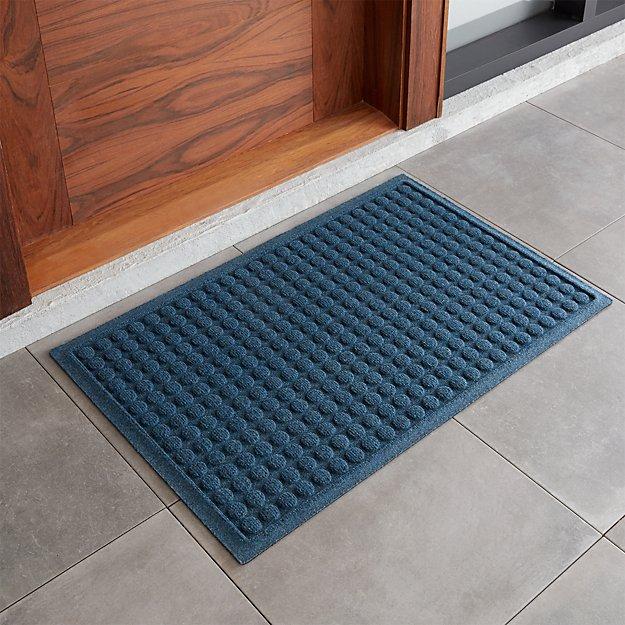 Thirsty 22x34 blue doormat crate and barrel for Cb2 indoor outdoor rug